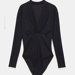 Zara black long sleeve bodysuit